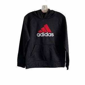 Adidas Boys ClimaWarm Red Black Hoodie Large 12/14